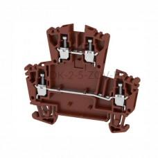 Złączka szynowa dwutorowa WDK 2.5 ZQV BR Weidmuller brązowa 24A 400V 1067950000