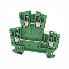 Złączka szynowa dwutorowa WDK 2.5 ZQV GN Weidmuller zielona 24A 400V 1067960000