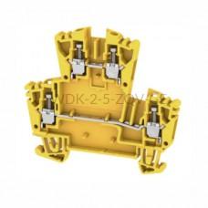 Złączka szynowa dwutorowa WDK 2.5 ZQV GE Weidmuller żółta 24A 400V 1068040000