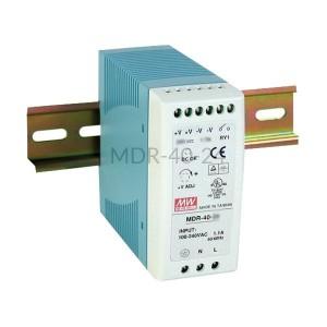Zasilacz impulsowy na szynę Mean Well 230VAC 24VDC 1,7A MDR-40-24