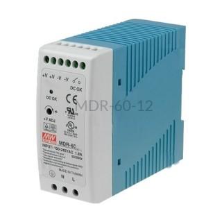 Zasilacz impulsowy na szynę Mean Well 230VAC 24VDC 2,5A MDR-60-24