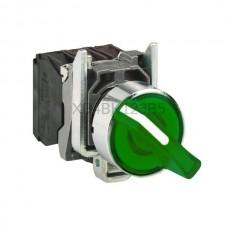 Przełącznik zatablicowy, podświetlany, 2-położeniowy z metalową maskownicą Schneider Electric Zielony XB4BK123B5